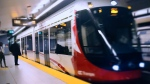 An east-bound OTrain pulls in to Rideau Station on the Confederation Line of the Light Rail Transit system in Ottawa, ON.