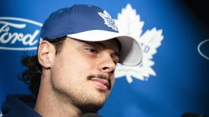 Toronto Maple Leafs centre Auston Matthews speaks to media in Toronto, on Thursday, September 12, 2019. THE CANADIAN PRESS/Christopher Katsarov