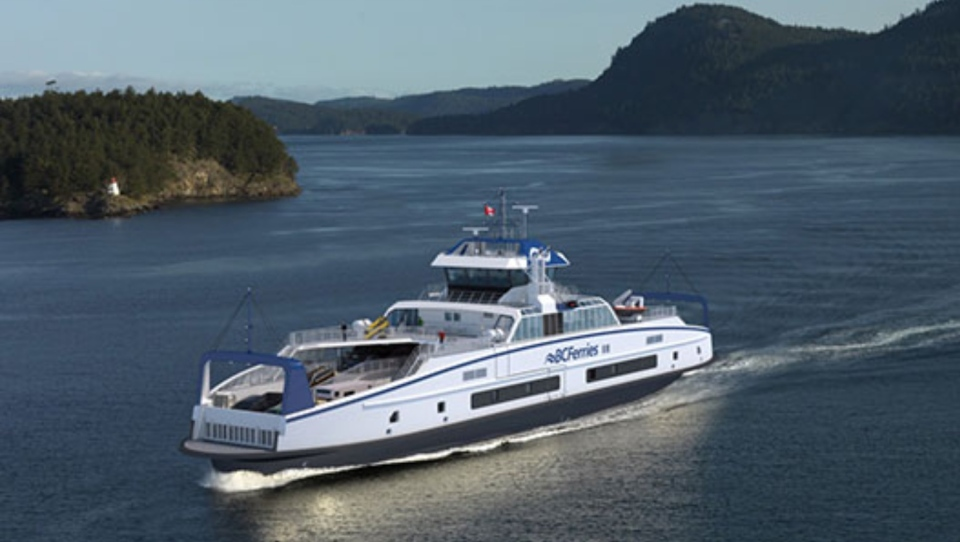 A rendering of an Island Class hybrid vessel. (BC Ferries)