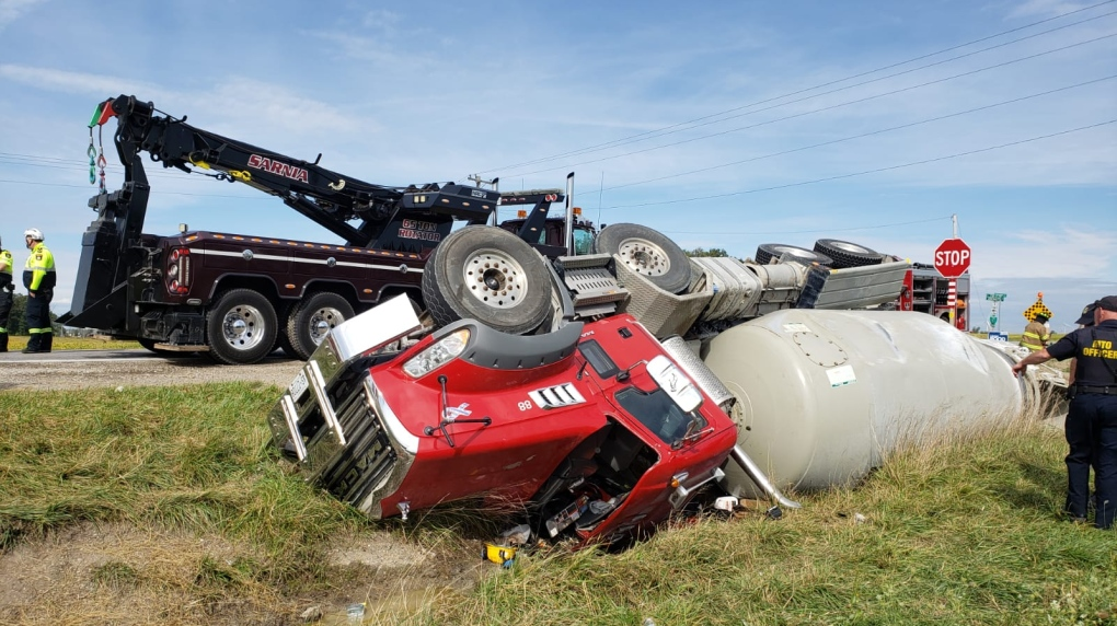Cement truck crash