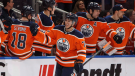 Edmonton Oilers' Ethan Bear (74) celebrates his first NHL goal against the Anaheim Ducks during third period NHL action in Edmonton, Alta., on Sunday, March 25, 2018. (The Canadian Press/Jason Franson)