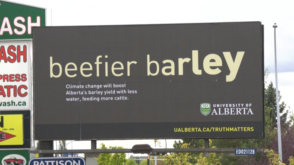 Billboard in west Edmonton talking about a study on climate change. Wednesday Sept. 25, 2019 (CTV News Edmonton)