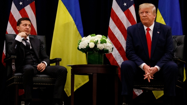 U.S. President Donald Trump meets with Ukrainian President Volodymyr Zelensky at the InterContinental Barclay New York hotel during the United Nations General Assembly, Wednesday, Sept. 25, 2019, in New York. (AP Photo/Evan Vucci)