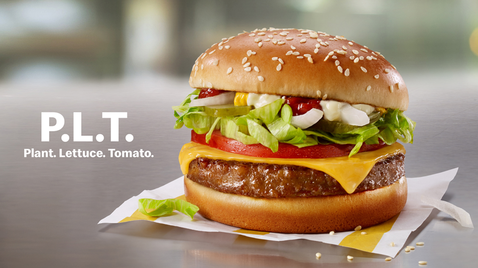 McDonald's Canada will roll out a limited pilot of the plant-based patty to test its customer's appetite for vegetarian eats. The chain will start serving a P.L.T. sandwich at 28 restaurants in southwestern Ontario, including locations in London and Sarnia, on Monday. (McDonald's)