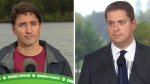 Liberal Leader Justin Trudeau and Conservative Leader Andrew Scheer are seen in this composite image.