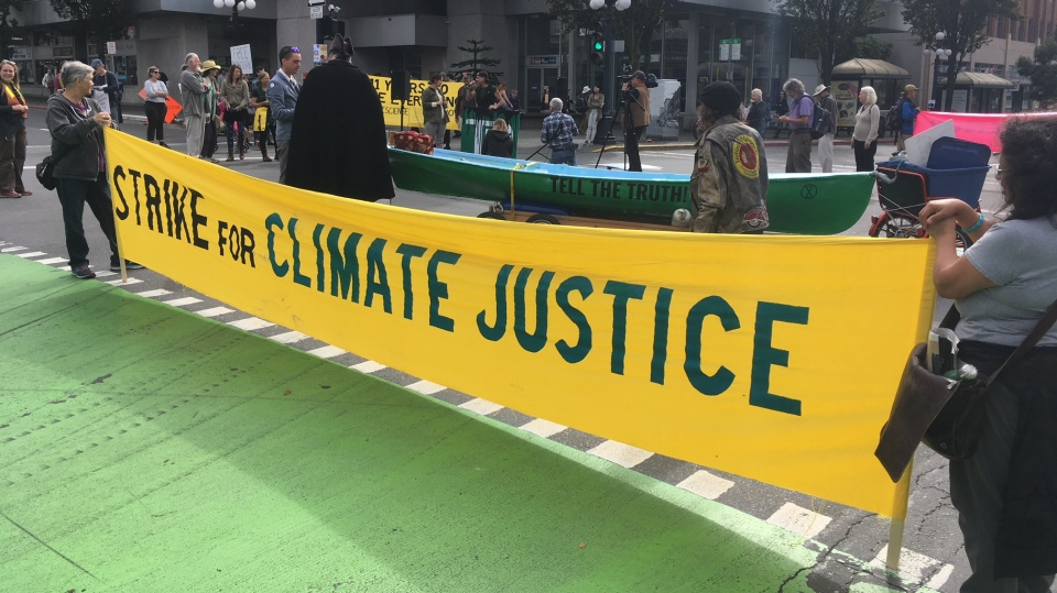 The event was part of the Global Climate Strike week of action. (CTV Vancouver island)