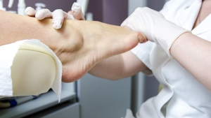A woman's foot is seen in this stock image from Shutterstock.com.