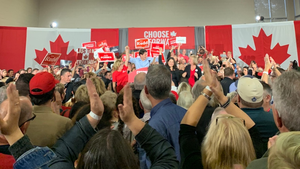 Liberal Leader Justin Trudeau appears at a campaign rally in Peterborough, Ont., on Thursday, Sept. 26, 2019. (Rachel Aiello / CTV News)