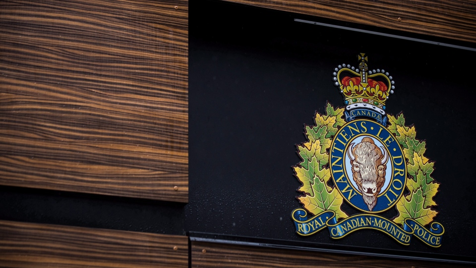 The RCMP logo is seen outside Royal Canadian Mounted Police