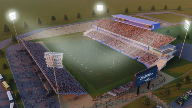 The design for the proposed CFL stadium in Shannon Park is seen. (Schooners Sports and Entertainment)