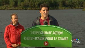 Liberal Leader Justin Trudeau speaks in Sudbury about camping and environment initiatives with incumbent MP Paul Lefebvre standing in the background. (Dana Roberts/CTV Northern Ontario)