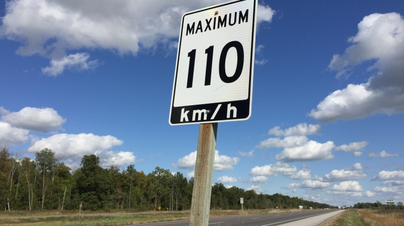 A new 110 kilometre an hour speed limit sign is seen on Highway 402 west of London, Ont. on Thursday, Sept. 26, 2019. (Bryan Bicknell / CTV London)