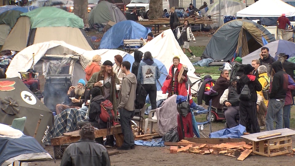 The homeless camp at Oppenheimer Park is seen in this file photo from September 2019. (CTV)