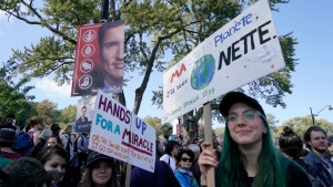 Demonstrators take part in a climate protest in Montreal on Friday Sept. 27, 2019. THE CANADIAN PRESS/Paul Chiasson