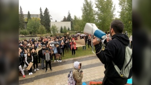 Hundreds of students rallied for action on climate change in September 2019, marching from the University of Calgary campus to city hall.