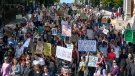 Thousands march during the climate strike in Halifax on Friday, Sept. 27, 2019. THE CANADIAN PRESS/Darren Calabrese