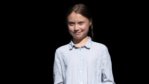 Swedish activist and student Greta Thunberg walks off the stage after addressing the Climate Strike in Montreal on Friday, Sept. 27, 2019. THE CANADIAN PRESS/Paul Chiasson