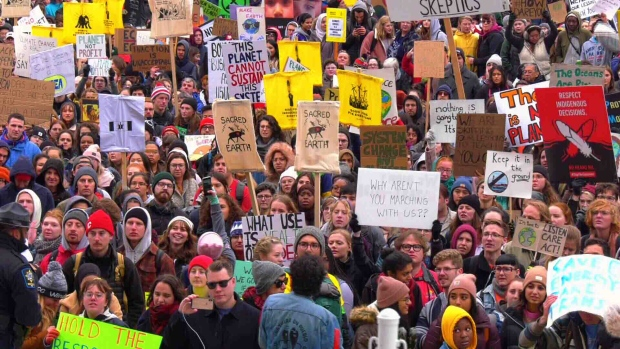 Thousands of students and other protesters descended on the Alberta legislature Friday as part of a worldwide movement to draw attention to climate change and encourage leaders to act. (CTV News Edmonton)