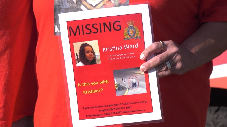 """We love you Kristina, come home,"" said Leanne Ward as she clutched a red missing poster. (CTV)"
