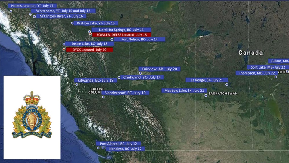 A map of sightings of McLeod and Schmegelsky released by the RCMP.