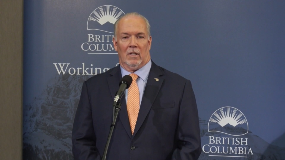 John Horgan speaks at a news conference after addressing the Union of BC Municipalities conference on Friday. (CTV)