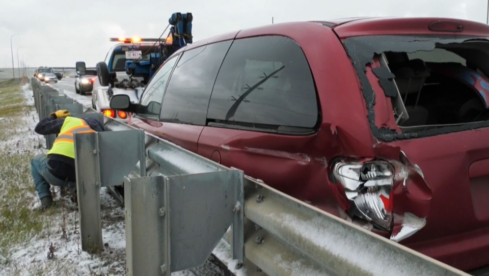 Tow truck drivers are also busy on Saturday, as the September snowfall is leading to slippery conditions in many areas.