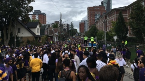 Thousands fill Ezra Avenue for Homecoming Weekend in Waterloo. (Sept. 28, 2019)