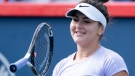 Bianca Andreescu tosses her racket during a practice session in Montreal on Monday, September 16, 2019. (THE CANADIAN PRESS / Paul Chiasson)