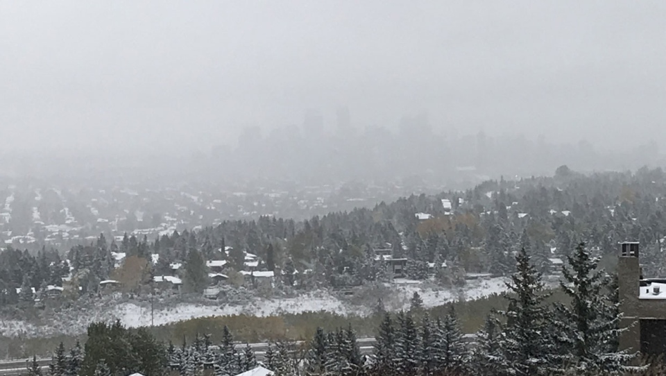 Calgary is under a snowfall warning on Sunday morning as a weekend storm is expected to reach its peak.