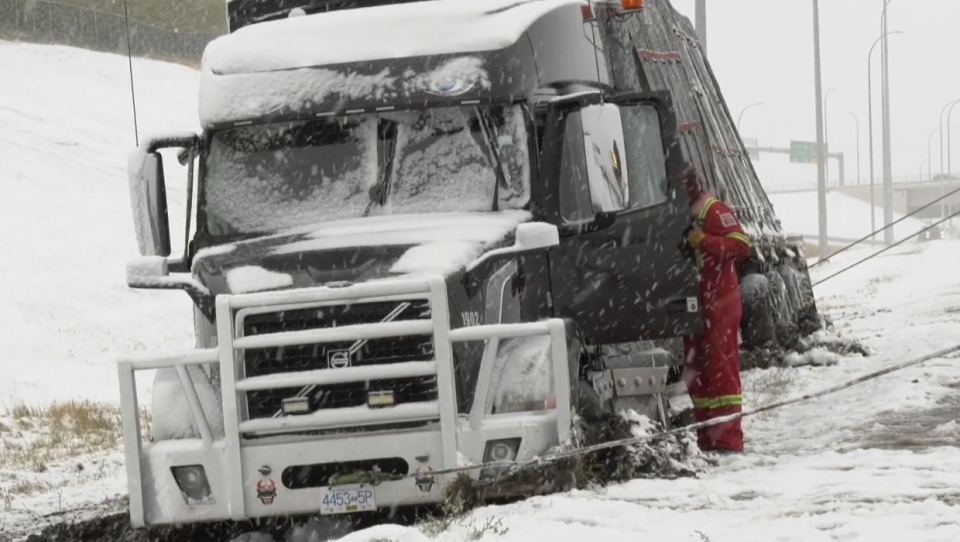 A semi tractor-trailer got into some trouble driving on Stoney Trail during Sunday's snowstorm.