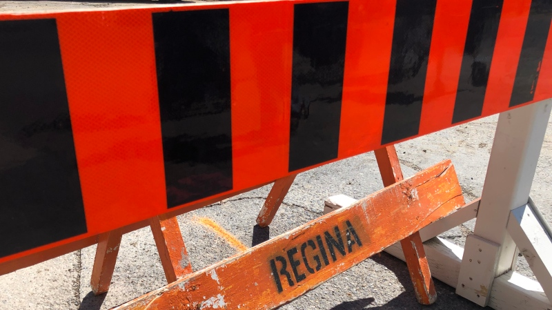 A City of Regina construction barrier is seen in this file photo. (Brendan Ellis/CTV News)