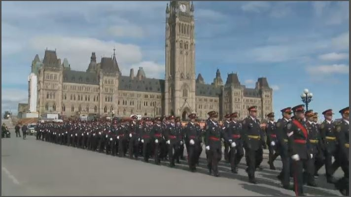 Ottawa Police march in national memorial service honouring officers who have died in line of duty