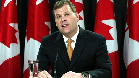 Transport Minister John Baird holds a news conference in Ottawa, Monday, Aug. 31, 2009, to deliver a statement on the economic and infrastructure stimulus in Canada. (Fred Chartrand / THE CANADIAN PRESS)
