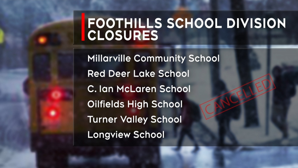Foothills School Division, closures, snow,