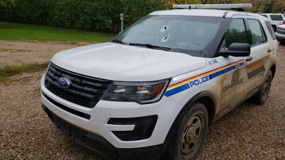 This RCMP vehicle was damaged after police say a man fired a shotgun at it near Carnduff (Supplied: RCMP)