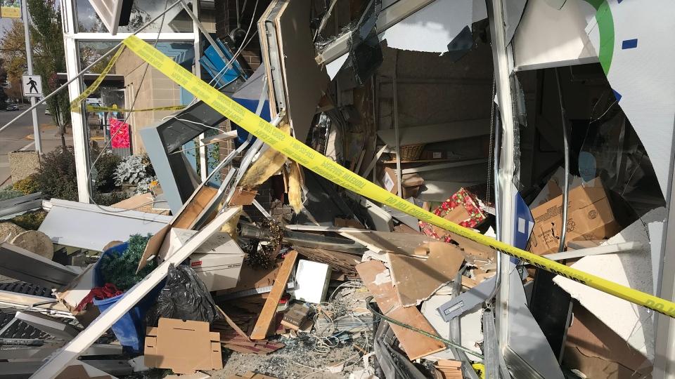 Damage to the bank in Legal, Alta on Sept. 30, 2019. (Dave Ewasuk/CTV News Edmonton)