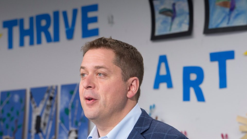 Conservative leader Andrew Scheer makes an announcement during a campaign stop at the Abilities Centre in Whitby, Ont. Monday, September 30, 2019. THE CANADIAN PRESS/Jonathan Hayward