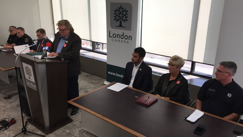 City, police and school officials discuss the weekend's 'FOCO' activities in London, Ont. on Monday, Sept. 30, 2019. (Bryan Bicknell / CTV London)