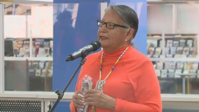 Chief Margret Bear from the Ochapowace First Nation discussed her personal experience in residential school at a an Orange Shirt Day event in Regina.