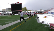 Several Calgary Stampeders got their first taste of snow Monday