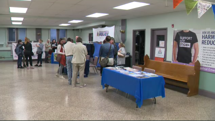 Members of the public attend an open house event at St. John's Church in Kitchener to learn more about the region's first temporary Consumption and Treatment Services Site. (Jeff Pickel/CTV Kitchener) (Sept. 30, 2019)