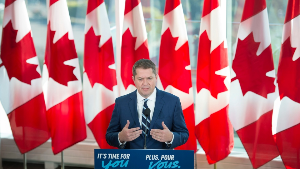 Conservative leader Andrew Scheer addresses the media during a morning announcement in Toronto Tuesday, October 1, 2019. THE CANADIAN PRESS/Jonathan Hayward