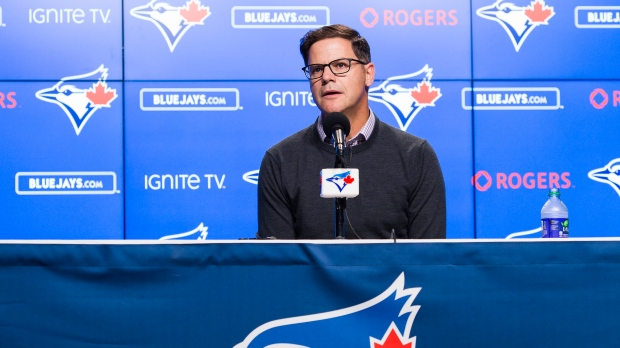 Ross Atkins, general manager of the Toronto Blue Jays, speaks to the media during the end-of-the-season press conference in Toronto on Tuesday, October 1, 2019. THE CANADIAN PRESS/Nathan Denette