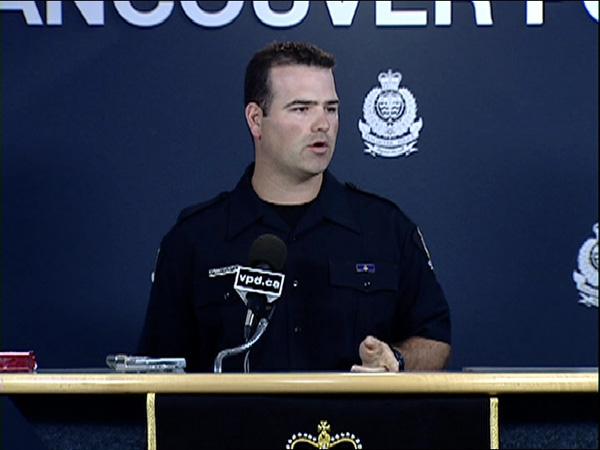 Vancouver Police Const. Lindsay Houghton speaks about the impaired driving arrest of a fellow officer on August 31, 2009.