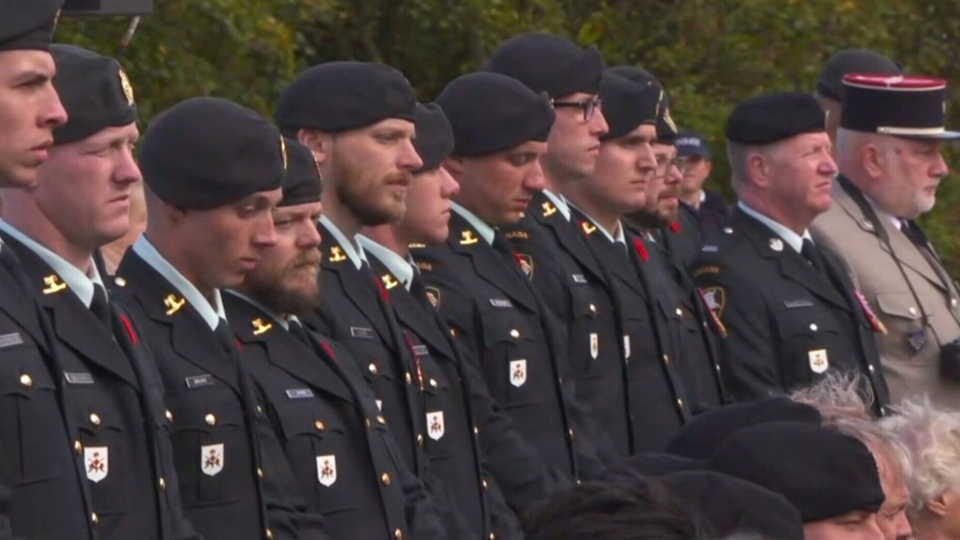 A ceremony unveiling a new memorial to the Hill 70 battle. (CTV)