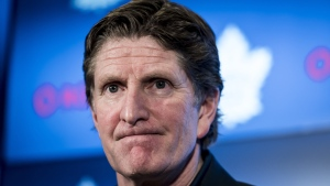 Toronto Maple Leafs Head Coach Mike Babcock speaks to reporters after a locker clean out at the Scotiabank Arena in Toronto, on Thursday, April 25, 2019. THE CANADIAN PRESS/Christopher Katsarov
