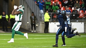 Saskatchewan Roughriders' Emmanuel Arceneaux makes a catch for a touchdown during second half CFL football game action against the Toronto Argonauts in Toronto on Saturday, September 28, 2019. THE CANADIAN PRESS/Jon Blacker