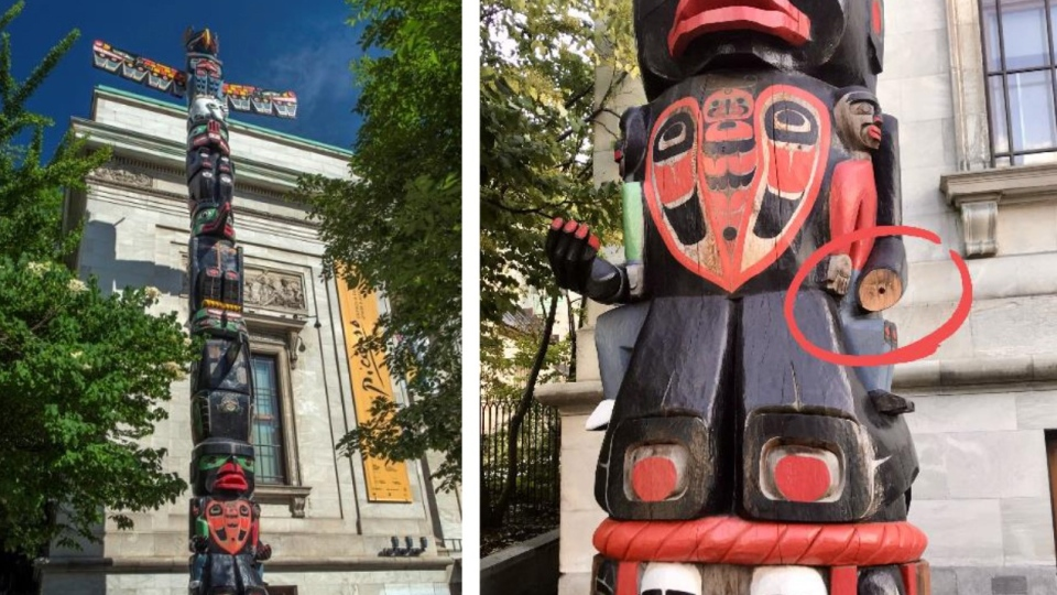 A totem pole outside the Montreal Museum of Fine Arts which had a hand stolen off it is shown in a pair of handout photos. The museum says a hand taken from a totem pole last month was quietly returned to the museum overnight Tuesday.THE CANADIAN PRESS/HO-Montreal Museum of Fine Arts
