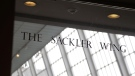 A sign with the Sackler name is displayed at the Metropolitan Museum of Art in New York, on Jan. 17, 2019. (Seth Wenig / AP)