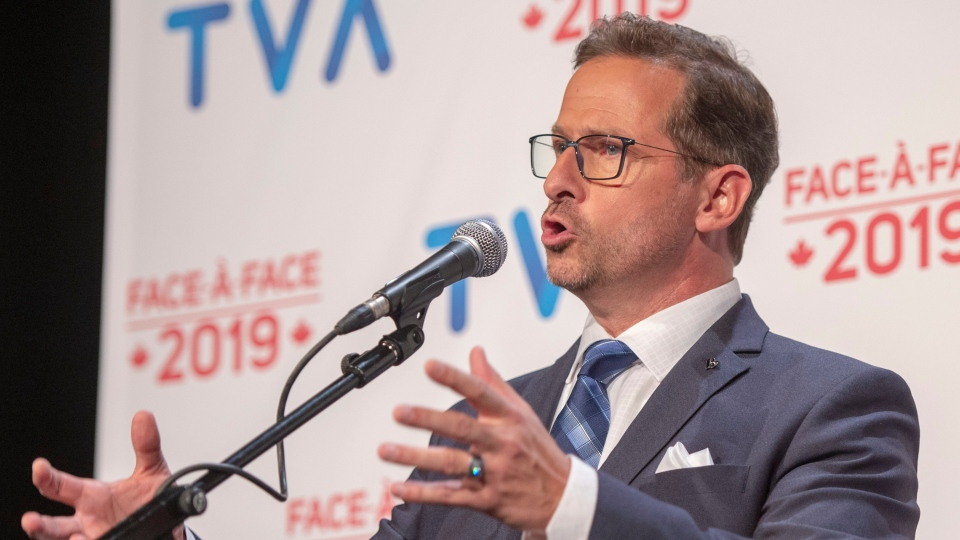 Bloc Quebecois Leader Yves-Francois Blanchet speaks to the media after the TVA French debate in Montreal, Wednesday, Oct. 2, 2019. THE CANADIAN PRESS/Ryan Remiorz